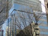 ビルに映る冬の空